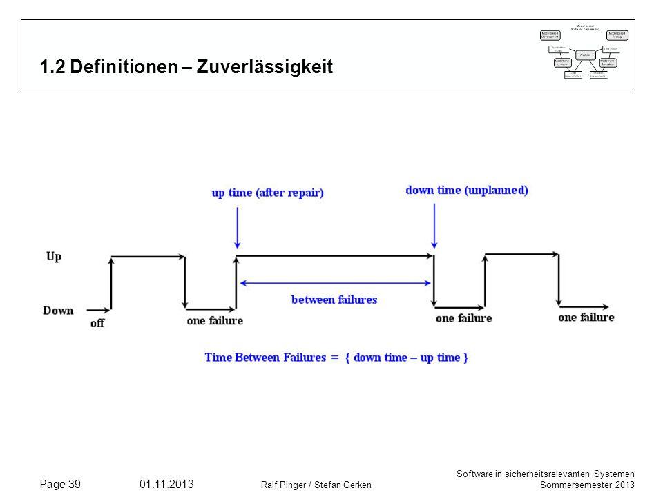 Software in sicherheitsrelevanten Systemen Sommersemester 2013 01.11.2013 Ralf Pinger / Stefan Gerken Page 39 1.2 Definitionen – Zuverlässigkeit