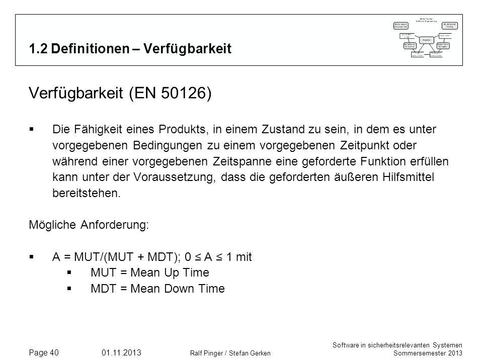 Software in sicherheitsrelevanten Systemen Sommersemester 2013 01.11.2013 Ralf Pinger / Stefan Gerken Page 40 1.2 Definitionen – Verfügbarkeit Verfügb