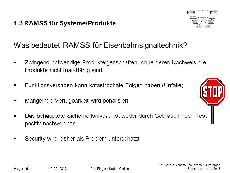 Software in sicherheitsrelevanten Systemen Sommersemester 2013 01.11.2013 Ralf Pinger / Stefan Gerken Page 48 1.3 RAMSS für Systeme/Produkte Was bedeu