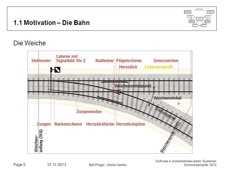 Software in sicherheitsrelevanten Systemen Sommersemester 2013 01.11.2013 Ralf Pinger / Stefan Gerken Page 5 1.1 Motivation – Die Bahn Die Weiche