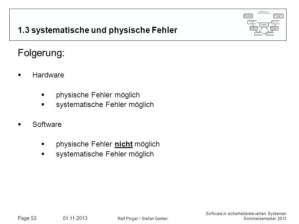 Software in sicherheitsrelevanten Systemen Sommersemester 2013 01.11.2013 Ralf Pinger / Stefan Gerken Page 53 1.3 systematische und physische Fehler F