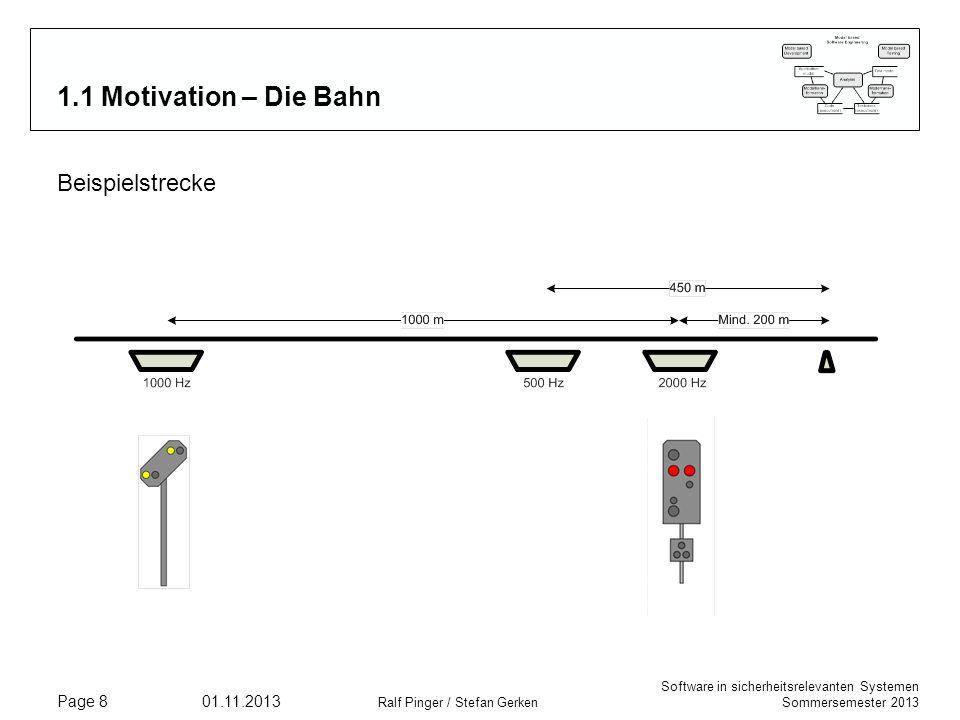 Software in sicherheitsrelevanten Systemen Sommersemester 2013 01.11.2013 Ralf Pinger / Stefan Gerken Page 8 1.1 Motivation – Die Bahn Beispielstrecke