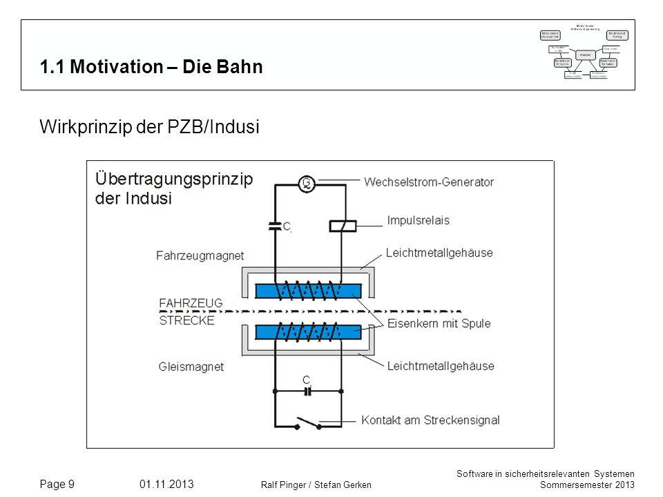 Software in sicherheitsrelevanten Systemen Sommersemester 2013 01.11.2013 Ralf Pinger / Stefan Gerken Page 9 1.1 Motivation – Die Bahn Wirkprinzip der
