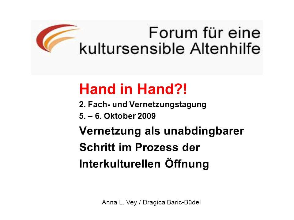 Hand in Hand?! 2. Fach- und Vernetzungstagung 5. – 6. Oktober 2009 Vernetzung als unabdingbarer Schritt im Prozess der Interkulturellen Öffnung Anna L