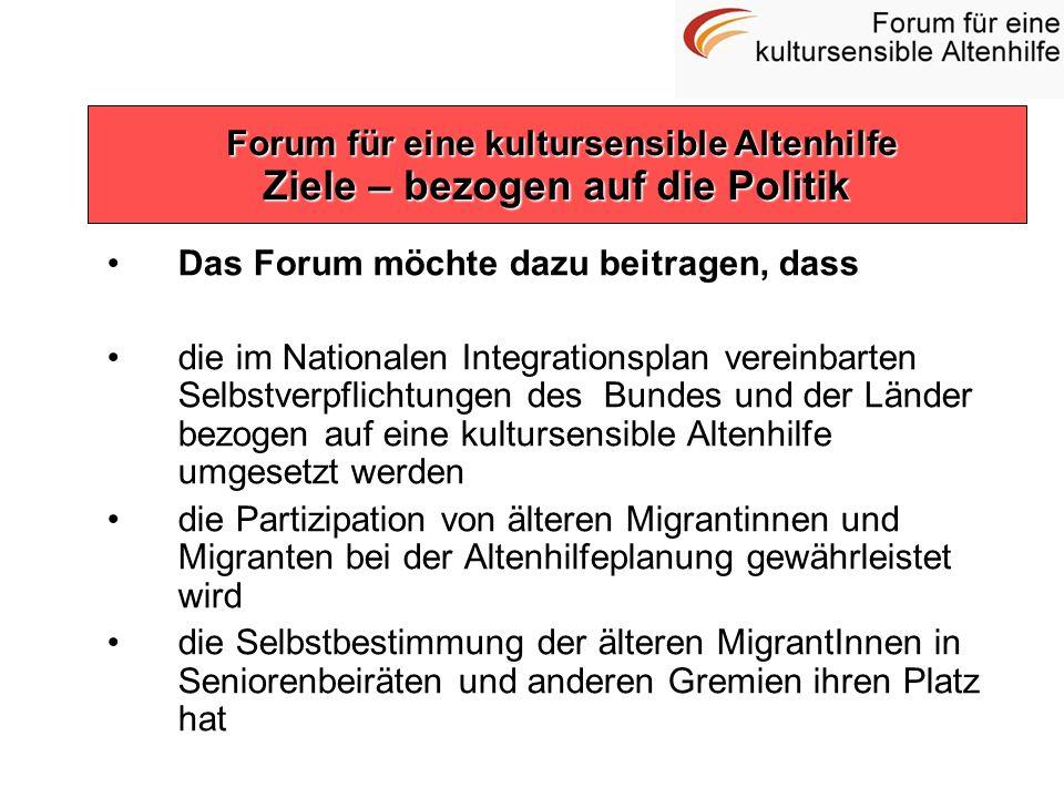 Das Forum möchte dazu beitragen, dass die im Nationalen Integrationsplan vereinbarten Selbstverpflichtungen des Bundes und der Länder bezogen auf eine