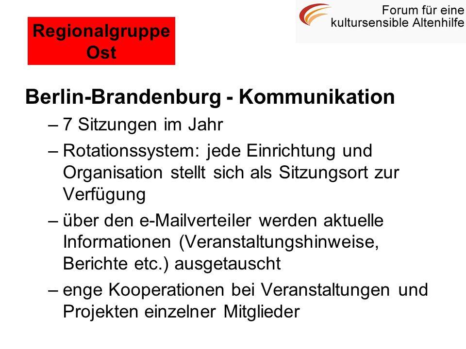 Berlin-Brandenburg - Kommunikation –7 Sitzungen im Jahr –Rotationssystem: jede Einrichtung und Organisation stellt sich als Sitzungsort zur Verfügung