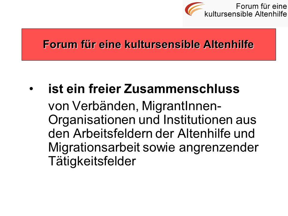 ist ein freier Zusammenschluss von Verbänden, MigrantInnen- Organisationen und Institutionen aus den Arbeitsfeldern der Altenhilfe und Migrationsarbei