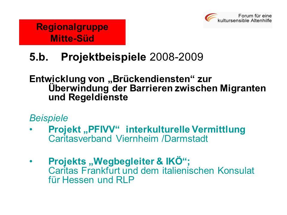5.b. Projektbeispiele 2008-2009 Entwicklung von Brückendiensten zur Überwindung der Barrieren zwischen Migranten und Regeldienste Beispiele Projekt PF