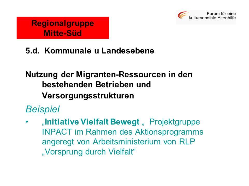 5.d. Kommunale u Landesebene Nutzung der Migranten-Ressourcen in den bestehenden Betrieben und Versorgungsstrukturen Beispiel Initiative Vielfalt Bewe