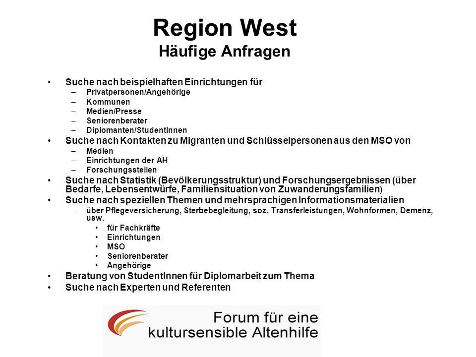 Region West Häufige Anfragen Suche nach beispielhaften Einrichtungen für –Privatpersonen/Angehörige –Kommunen –Medien/Presse –Seniorenberater –Diploma