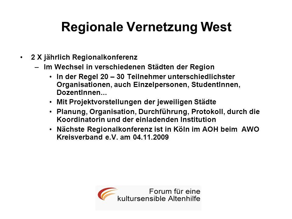Regionale Vernetzung West 2 X jährlich Regionalkonferenz –Im Wechsel in verschiedenen Städten der Region In der Regel 20 – 30 Teilnehmer unterschiedli