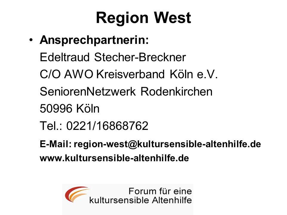 Region West Ansprechpartnerin: Edeltraud Stecher-Breckner C/O AWO Kreisverband Köln e.V. SeniorenNetzwerk Rodenkirchen 50996 Köln Tel.: 0221/16868762