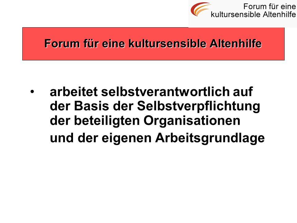 arbeitet selbstverantwortlich auf der Basis der Selbstverpflichtung der beteiligten Organisationen und der eigenen Arbeitsgrundlage Forum für eine kul