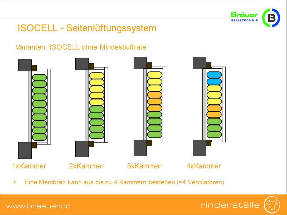 ISOCELL - Seitenlüftungssystem Varianten: ISOCELL ohne Mindestluftrate 1xKammer2xKammer3xKammer4xKammer Eine Membran kann aus bis zu 4 Kammern bestehe