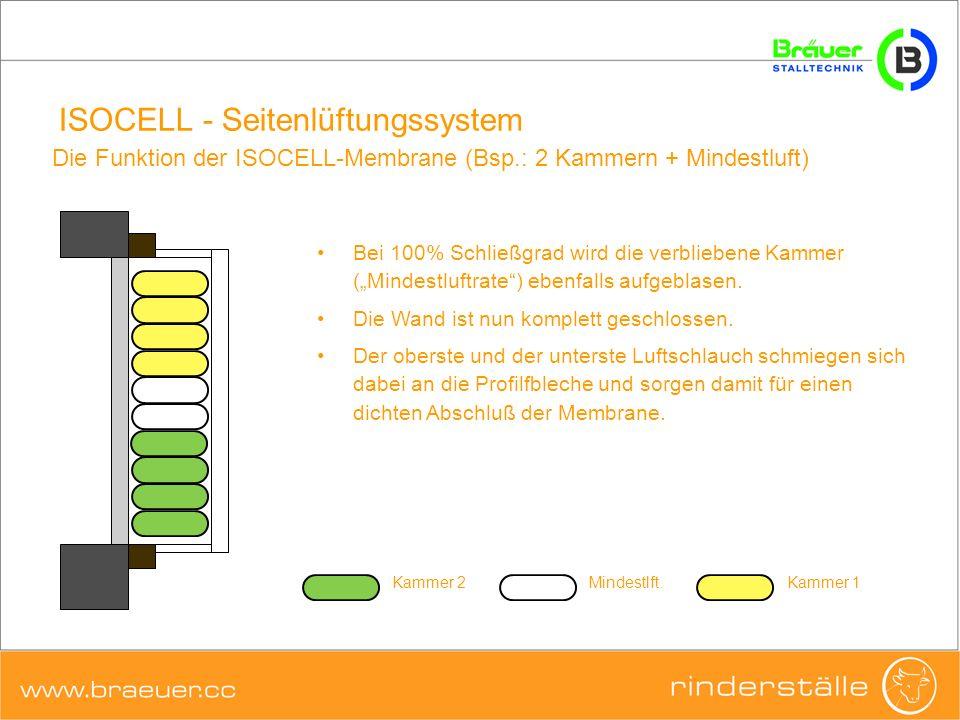 ISOCELL - Seitenlüftungssystem Bei 100% Schließgrad wird die verbliebene Kammer (Mindestluftrate) ebenfalls aufgeblasen. Die Wand ist nun komplett ges