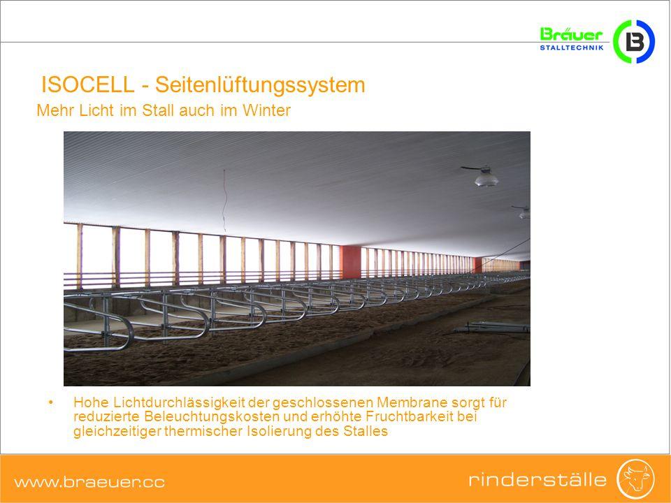 ISOCELL - Seitenlüftungssystem Hohe Lichtdurchlässigkeit der geschlossenen Membrane sorgt für reduzierte Beleuchtungskosten und erhöhte Fruchtbarkeit