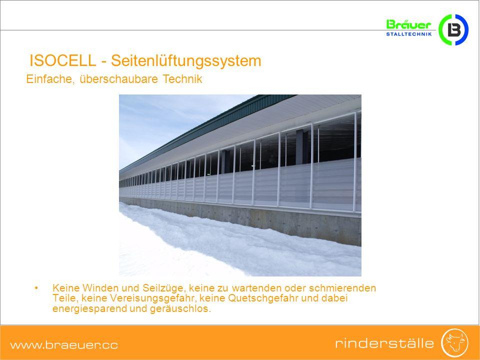 ISOCELL - Seitenlüftungssystem Einfache, überschaubare Technik Keine Winden und Seilzüge, keine zu wartenden oder schmierenden Teile, keine Vereisungs