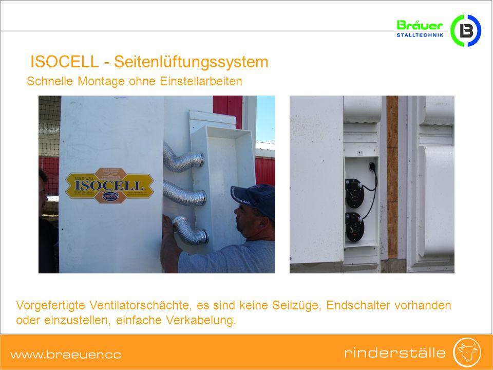 ISOCELL - Seitenlüftungssystem ISOCELL ist ein komplettes Wandsystem ISOCELL-Membrane Ventilatorkasten Profilblech oben Profilblech unten mit integrierter Entwässerung Stützstreben (Innen und Außen)