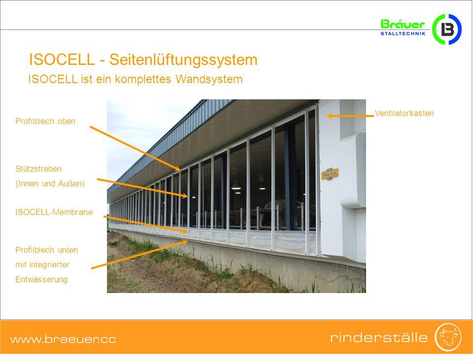 ISOCELL - Seitenlüftungssystem ISOCELL ist ein komplettes Wandsystem ISOCELL-Membrane Ventilatorkasten Profilblech oben Profilblech unten mit integrie
