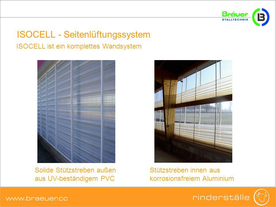 ISOCELL - Seitenlüftungssystem Stützstreben innen aus korrosionsfreiem Aluminium Solide Stützstreben außen aus UV-beständigem PVC ISOCELL ist ein komp