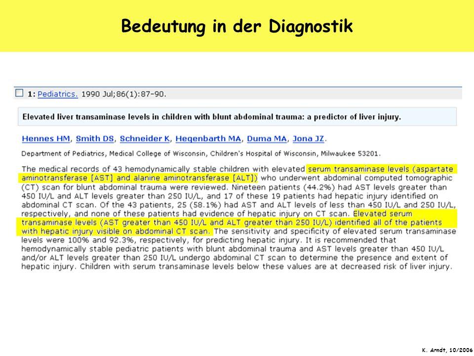 K. Arndt, 10/2006 Bedeutung in der Diagnostik