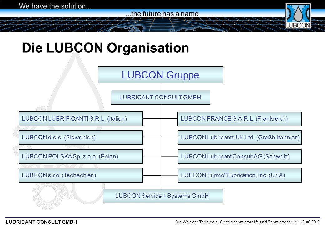Die Welt der Tribologie, Spezialschmierstoffe und Schmiertechnik – 12.06.08 9 LUBRICANT CONSULT GMBH LUBCON Lubricant Consult AG (Schweiz) LUBCON d.o.