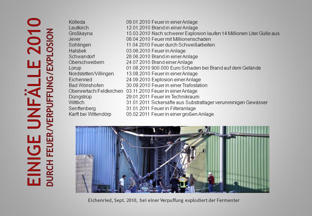 Eichenried, Sept. 2010, bei einer Verpuffung explodiert der Fermenter Kölleda09.01.2010 Feuer in einer Anlage Leutkirch12.01.2010 Brand in einer Anlag