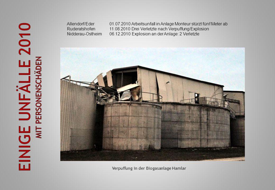Allendorf/Eder01.07.2010 Arbeitsunfall in Anlage Monteur stürzt fünf Meter ab Ruderatshofen11.08.2010 Drei Verletzte nach Verpuffung/Explosion Niddera