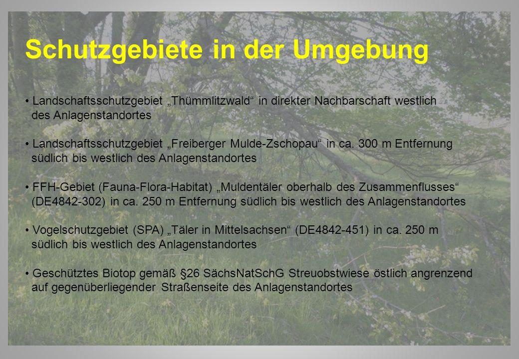 Schutzgebiete in der Umgebung Landschaftsschutzgebiet Thümmlitzwald in direkter Nachbarschaft westlich des Anlagenstandortes Landschaftsschutzgebiet F