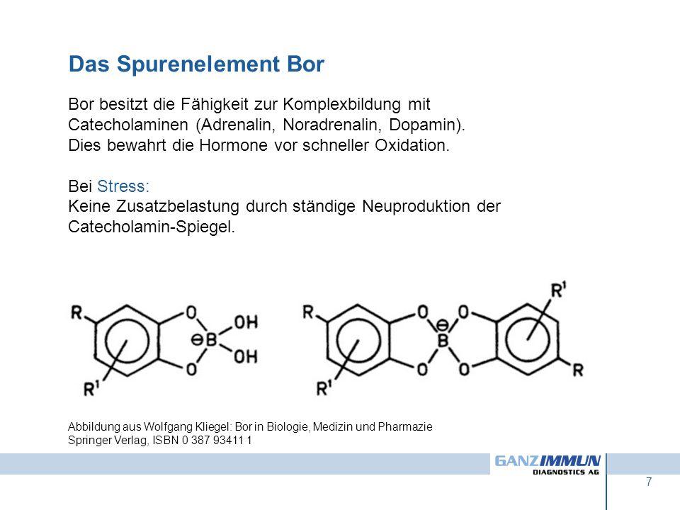 7 Abbildung aus Wolfgang Kliegel: Bor in Biologie, Medizin und Pharmazie Springer Verlag, ISBN 0 387 93411 1 Bor besitzt die Fähigkeit zur Komplexbild