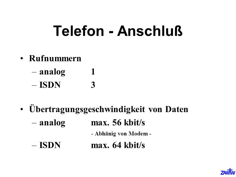 Telefon - Anschluß Rufnummern –analog1 –ISDN3 Übertragungsgeschwindigkeit von Daten –analog max. 56 kbit/s - Abhänig von Modem - –ISDN max. 64 kbit/s
