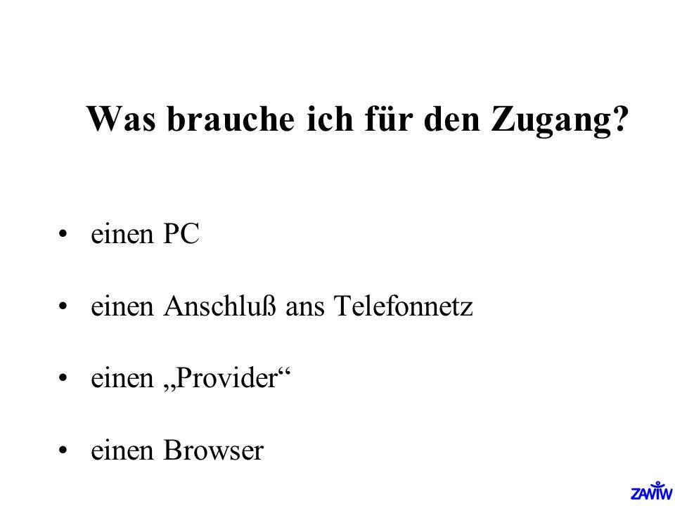 Was brauche ich für den Zugang? einen PC einen Anschluß ans Telefonnetz einen Provider einen Browser