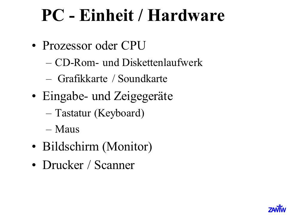 PC - Einheit / Hardware Prozessor oder CPU –CD-Rom- und Diskettenlaufwerk – Grafikkarte / Soundkarte Eingabe- und Zeigegeräte –Tastatur (Keyboard) –Ma