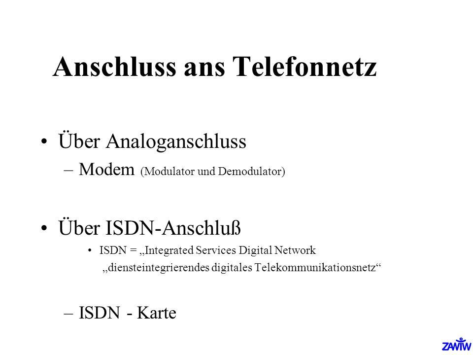 Anschluss ans Telefonnetz Über Analoganschluss –Modem (Modulator und Demodulator) Über ISDN-Anschluß ISDN = Integrated Services Digital Network dienst