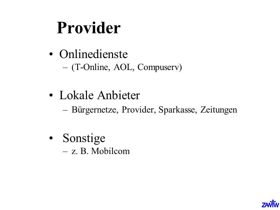 Provider Onlinedienste –(T-Online, AOL, Compuserv) Lokale Anbieter –Bürgernetze, Provider, Sparkasse, Zeitungen Sonstige –z. B. Mobilcom