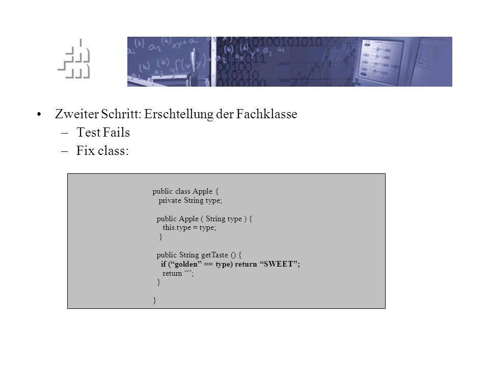 TTD Prinzip Zweiter Schritt: Erschtellung der Fachklasse –Test Fails –Fix class: public class Apple { private String type; public Apple ( String type