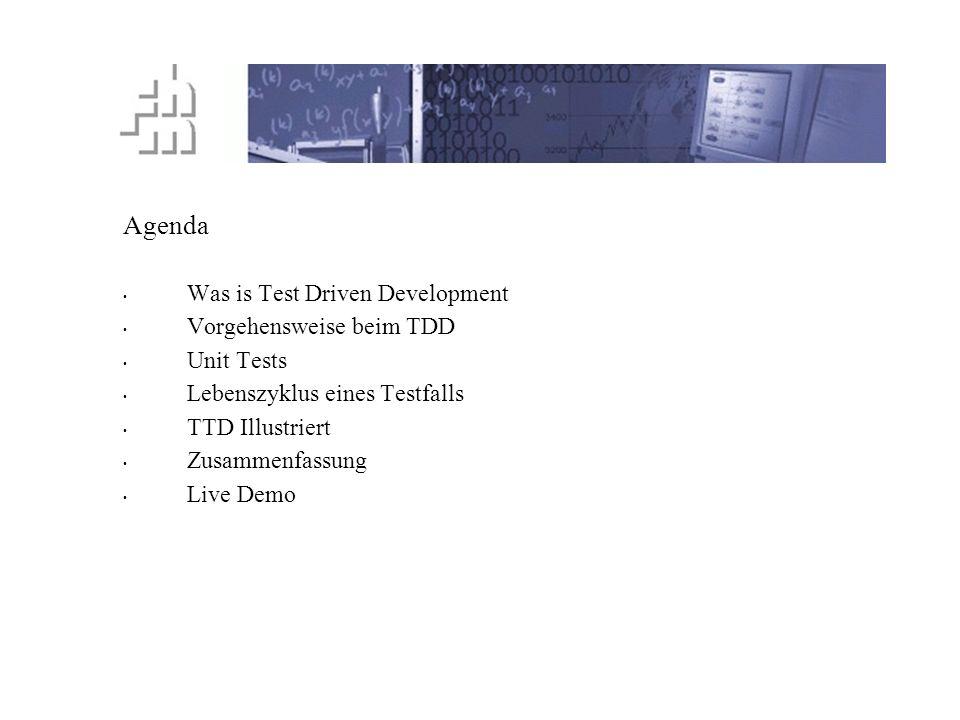 Agenda Was is Test Driven Development Vorgehensweise beim TDD Unit Tests Lebenszyklus eines Testfalls TTD Illustriert Zusammenfassung Live Demo