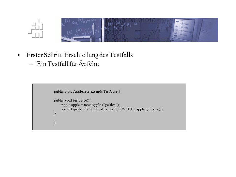 TTD Prinzip Erster Schritt: Erschtellung des Testfalls –Ein Testfall für Äpfeln: public class AppleTest extends TestCase { public void testTaste() { A