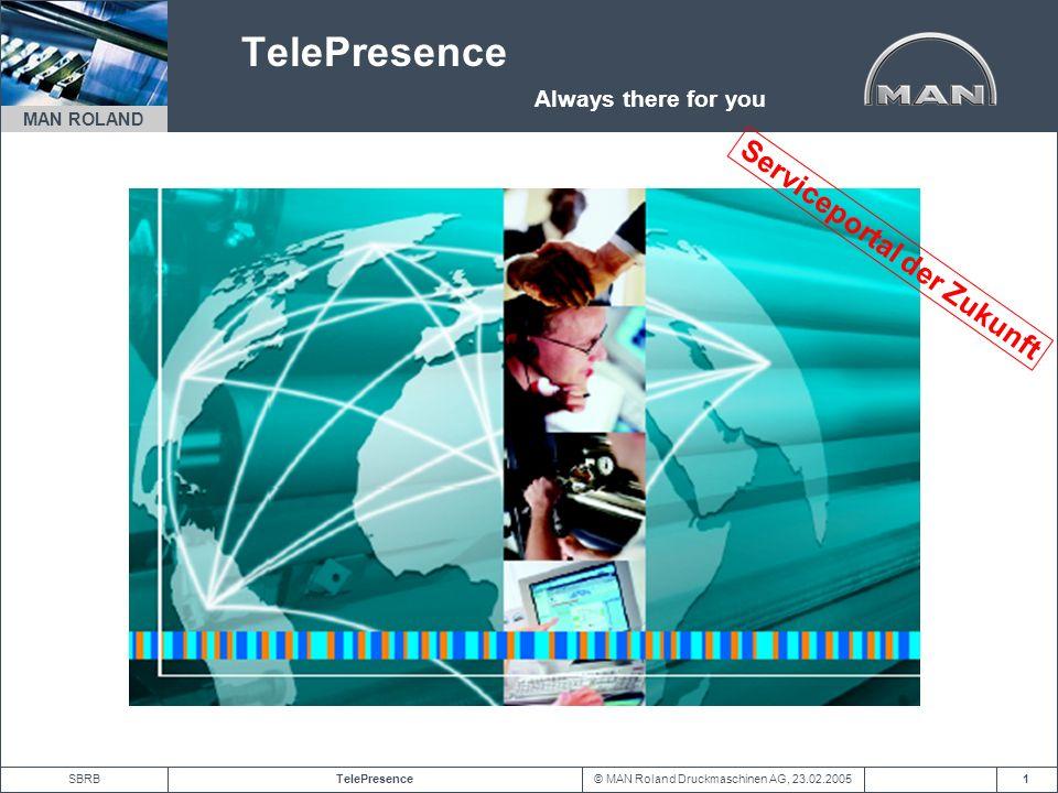 © MAN Roland Druckmaschinen AG, 23.02.2005TelePresenceSBRB MAN ROLAND 2 Serviceportal der Zukunft Mit TelePresence ist die Anforderung von Support- und Serviceleistungen auf Knopfdruck möglich.