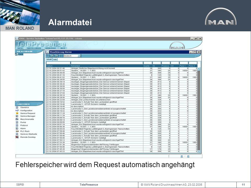 © MAN Roland Druckmaschinen AG, 23.02.2005TelePresenceSBRB MAN ROLAND 11 Alarmdatei Fehlerspeicher wird dem Request automatisch angehängt