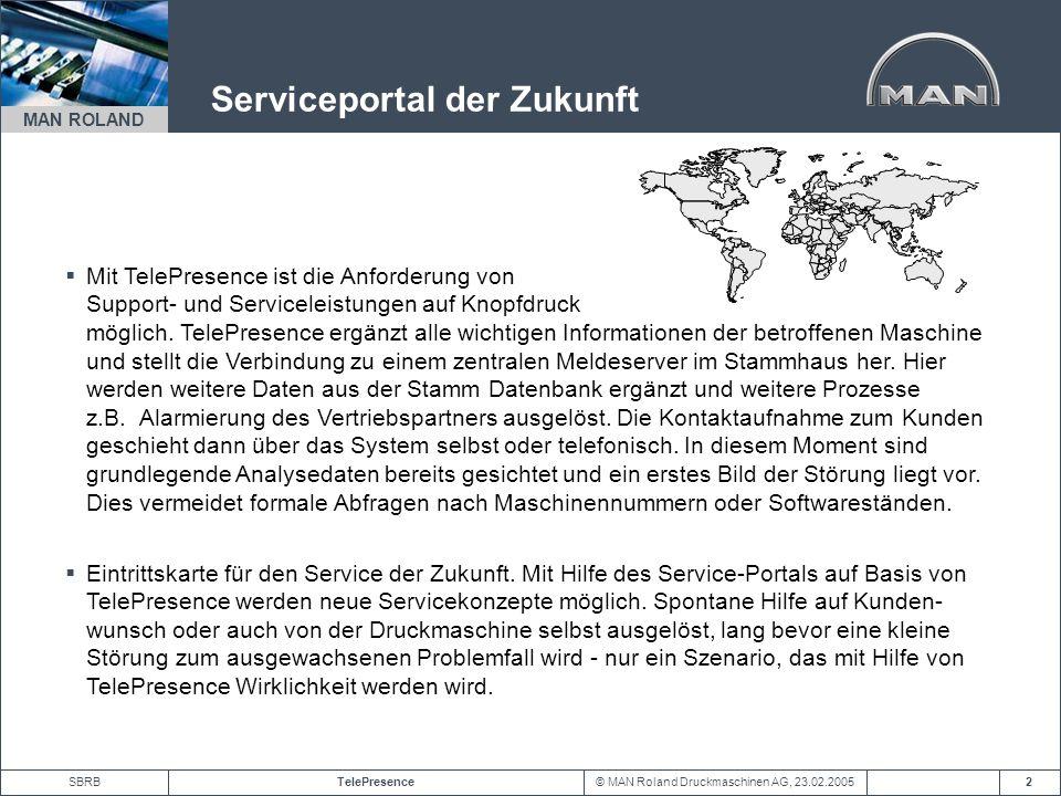 © MAN Roland Druckmaschinen AG, 23.02.2005TelePresenceSBRB MAN ROLAND 2 Serviceportal der Zukunft Mit TelePresence ist die Anforderung von Support- un