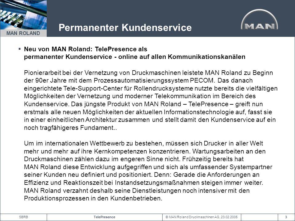 © MAN Roland Druckmaschinen AG, 23.02.2005TelePresenceSBRB MAN ROLAND 3 Permanenter Kundenservice Neu von MAN Roland: TelePresence als permanenter Kun