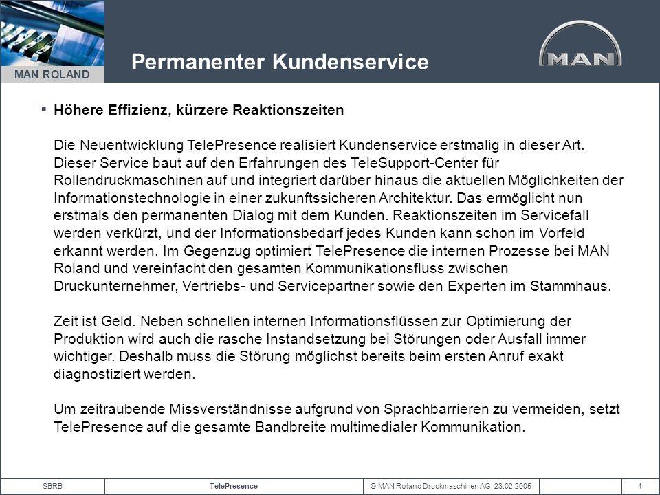 © MAN Roland Druckmaschinen AG, 23.02.2005TelePresenceSBRB MAN ROLAND 15 Bildaustausch Diagnose durch gemeinsamen Bildaustausch und Videokonferenz mittels WebCam WebCam