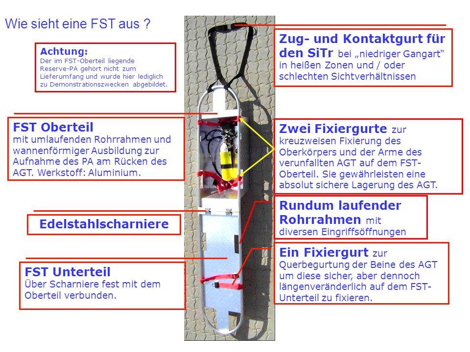 FST Oberteil mit umlaufenden Rohrrahmen und wannenförmiger Ausbildung zur Aufnahme des PA am Rücken des AGT. Werkstoff: Aluminium. FST Unterteil Über