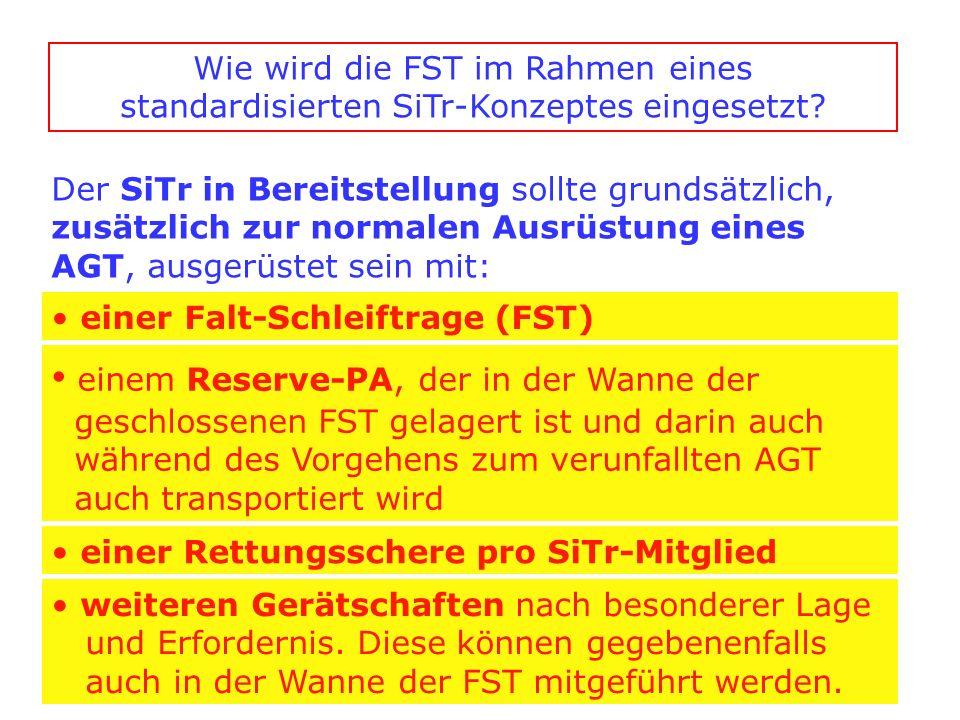 Der SiTr in Bereitstellung sollte grundsätzlich, zusätzlich zur normalen Ausrüstung eines AGT, ausgerüstet sein mit: einer Falt-Schleiftrage (FST) ein