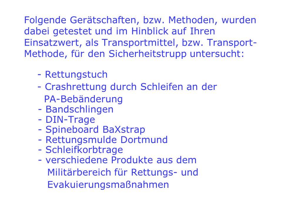 Folgende Gerätschaften, bzw. Methoden, wurden dabei getestet und im Hinblick auf Ihren Einsatzwert, als Transportmittel, bzw. Transport- Methode, für
