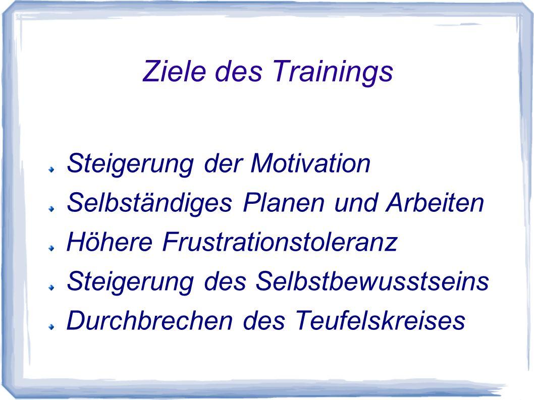Ziele des Trainings Steigerung der Motivation Selbständiges Planen und Arbeiten Höhere Frustrationstoleranz Steigerung des Selbstbewusstseins Durchbre