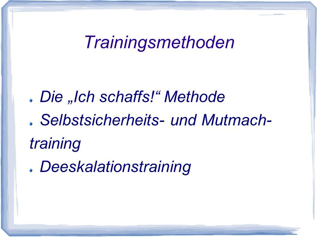 Trainingsmethoden Die Ich schaffs! Methode Selbstsicherheits- und Mutmach- training Deeskalationstraining