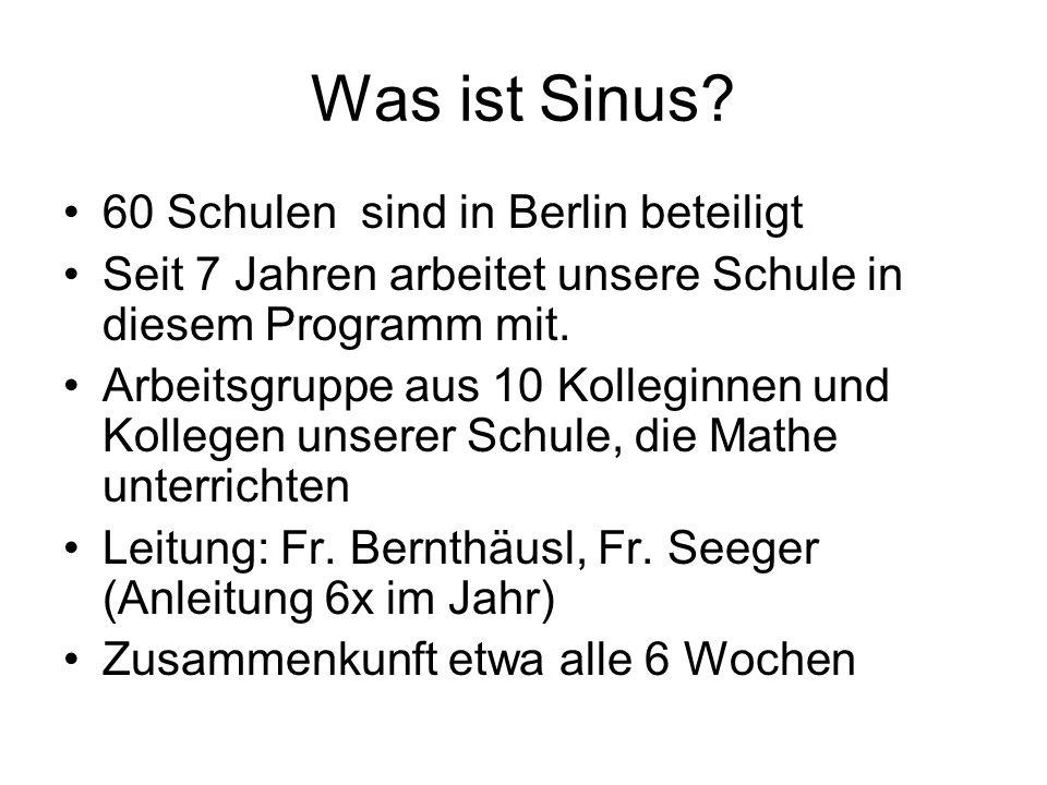 Was ist Sinus? 60 Schulen sind in Berlin beteiligt Seit 7 Jahren arbeitet unsere Schule in diesem Programm mit. Arbeitsgruppe aus 10 Kolleginnen und K