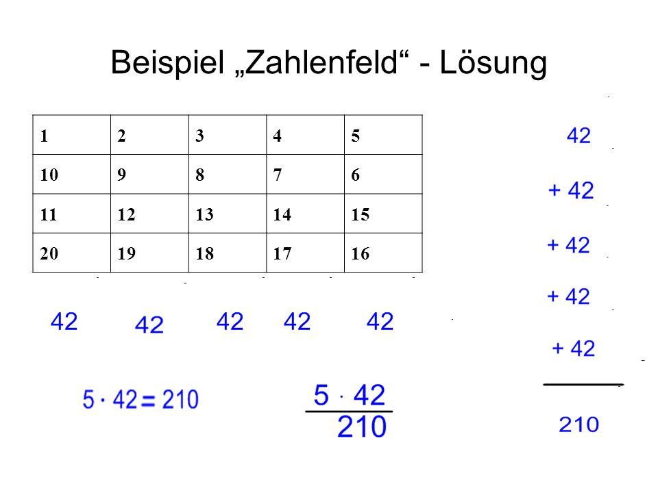 Beispiel Zahlenfeld - Lösung 12345 109876 1112131415 2019181716